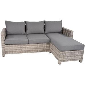 Lounge-Eckbank aus grauem Polyrattangeflecht mit 3 Rücken- und Sitzkissen, Maße: B/H/T ca. 196/71/144 cm