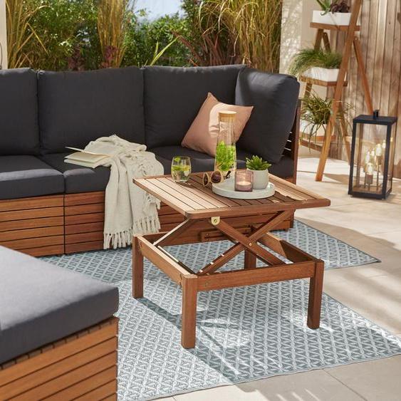 Lounge-Eckteil - schwarz - Massivholz -