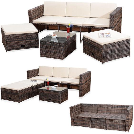 Lounge Gartenset Rattanmöbel Polyrattan Sitzmöbel Set Sofa Tisch 2 Hocker braun