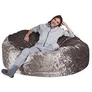 Lounge Pug®, Mega-Mammoth Sofa Sitzsack XXL, Schlafsofa, Retro-Samt Silber