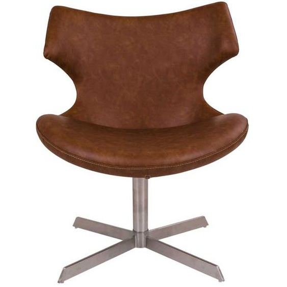 Lounge Sessel in Cognac Braun Kunstleder 65 cm breit