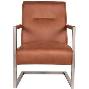 Lounge Sessel in Cognac Braun Microfaser Armlehnen