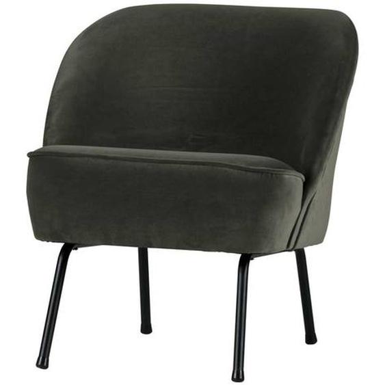 Lounge Sessel in Dunkelgrün Samtbezug Retro Look