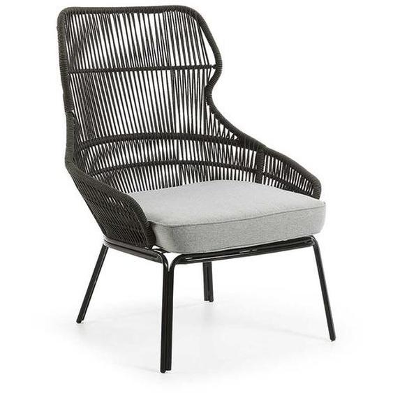 Lounge Sessel in Grau Kordelgeflecht