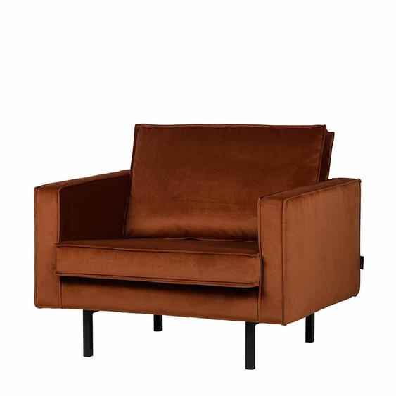 Lounge Sessel in Rostfarben Samt Bezug