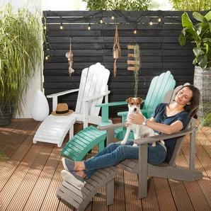 Lounge-Sessel mit separatem Fußteil - grün - Massivholz -