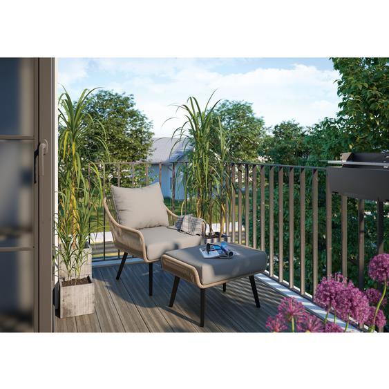 Lounge-Sessel Plainland Naturfarben mit Fußteil
