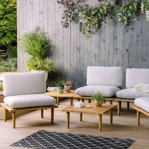 Gartenmöbel 4er Set Akazienholz hellgrau FRASCATI