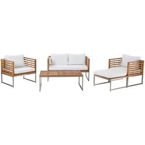 Gartenmöbel Set Holz 4-Sitzer Auflagen weiss BERMUDA