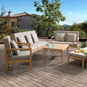 Lounge Set Holz braun 7-Sitzer Auflagen grau PATAJA
