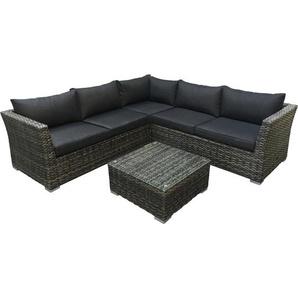 Lounge - Set ALMERIA, Aluminium + Polyrattan grau-bicolor, Polster dunkelgrau - DEGAMO