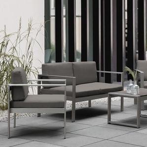 Gartenmöbel Set Aluminium 4-Sitzer Auflagen dunkelgrau SALERNO
