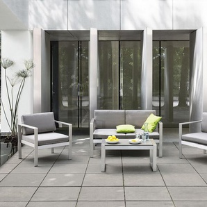 Gartenmöbel Set Aluminium 4-Sitzer Auflagen hellgrau SALERNO