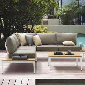 Lounge Set Aluminium weiss 4-Sitzer Auflage grau POSITANO