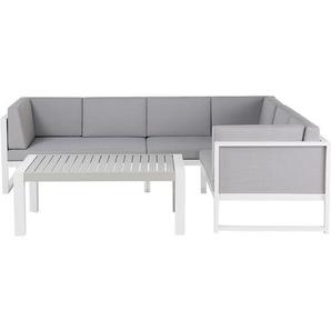 Lounge Set Aluminium weiss 6-Sitzer Auflagen grau VINCI