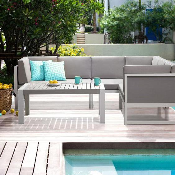 Lounge Set Aluminium weiß 6-Sitzer Auflagen grau CASTELLA