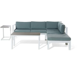 Lounge Set Kunstholz weiss 5-Sitzer Auflagen grün-grau MESSINA