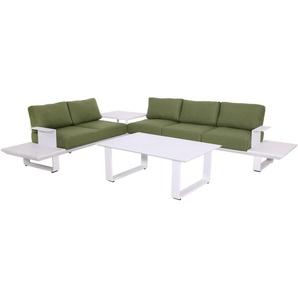Lounge-Set mit Aluminium Gestell in weiß, 3-teilig mit 1 Tisch, 2-sitzer Sofa, 3-sitzer Sofa mit insg. 10 Kissen in grün