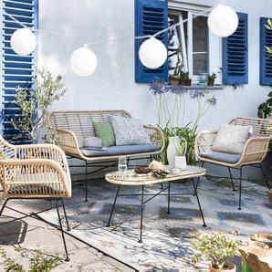 Lounge Set ,braun ,Rattan & Geflecht