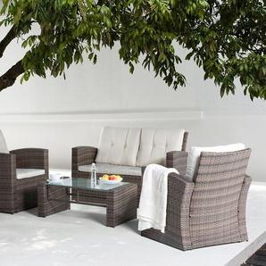 Lounge Set Rattan braun 4-Sitzer Auflagen beige LUCA