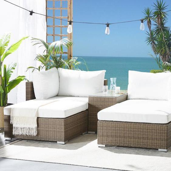Lounge Set Rattan hellbraun 2-Sitzer Auflagen cremeweiß NOTO