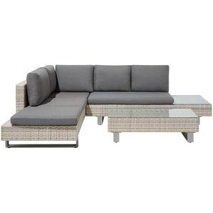 Lounge Set Rattan hellbraun 5-Sitzer Auflagen grau LANCIANO