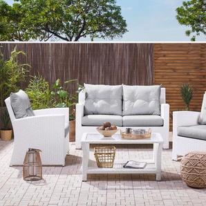 Lounge Set weiss 4-Sitzer Auflagen grau SAN MARINO