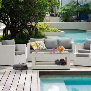 Lounge Set Rattan weiss 6-Sitzer Auflagen grau ROMA