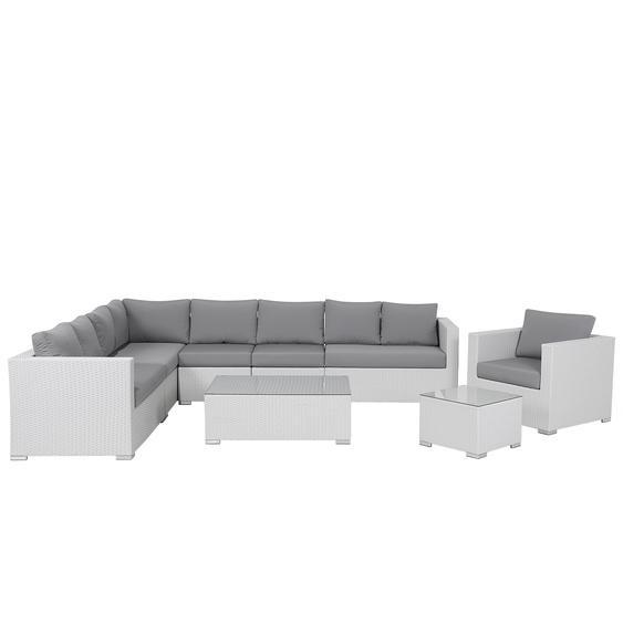 Lounge Set Rattan weiß 8-Sitzer Auflagen grau XXL