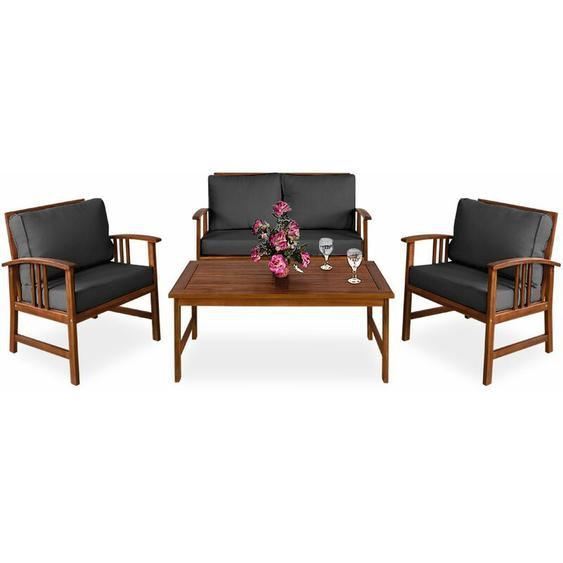 Lounge Sitzgruppe Atlas FSC®-zertifiziertes Akazien Holz Auflagen Sessel Bank Tisch Gartenmöbel Sitzgarnitur Garten Set Anthrazit - Deuba