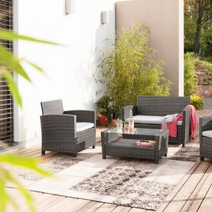 Loungemöbel Set, grau, Polyrattan