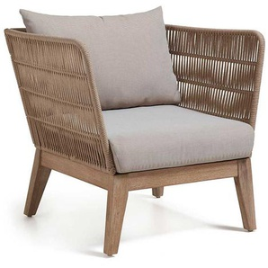 Loungesessel in Beige Eukalyptusholz (2er Set)