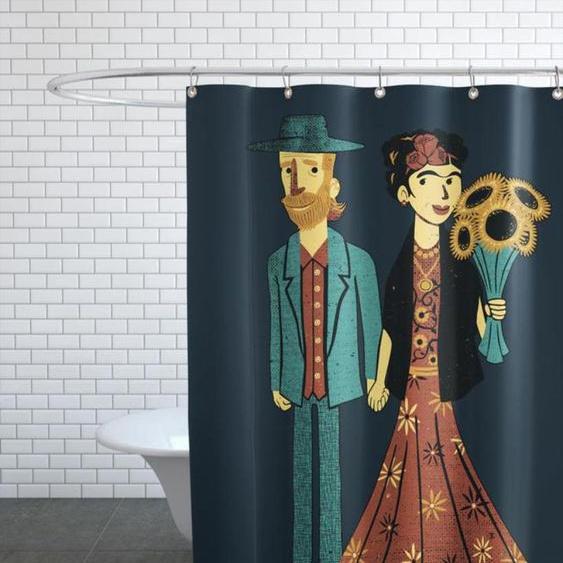 Love Is Art Frida Kahlo and Van Gogh - Duschvorhang