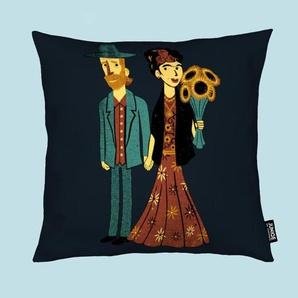 Love Is Art Frida Kahlo and Van Gogh - Kissen