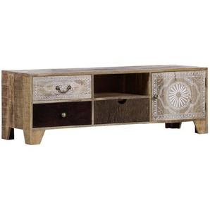 : Lowboard, Holz,Akazie, Mangoholz, Mehrfarbig, Natur, B/H/T 150 50 49