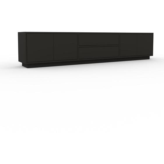 Lowboard Anthrazit - TV-Board: Schubladen in Anthrazit & Türen in Anthrazit - Hochwertige Materialien - 226 x 47 x 35 cm, Komplett anpassbar