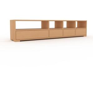 Lowboard Buche - Designer-TV-Board: Schubladen in Buche - Hochwertige Materialien - 193 x 43 x 35 cm, Komplett anpassbar