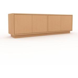 Lowboard Buche - Designer-TV-Board: Türen in Buche - Hochwertige Materialien - 152 x 47 x 35 cm, Komplett anpassbar