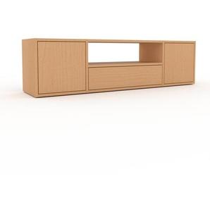 Lowboard Buche - TV-Board: Schubladen in Buche & Türen in Buche - Hochwertige Materialien - 154 x 41 x 35 cm, Komplett anpassbar