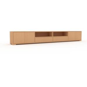 Lowboard Buche - TV-Board: Schubladen in Buche & Türen in Buche - Hochwertige Materialien - 301 x 43 x 35 cm, Komplett anpassbar