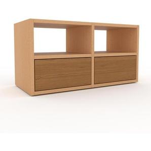 Lowboard Buche - Designer-TV-Board: Schubladen in Eiche - Hochwertige Materialien - 79 x 41 x 35 cm, Komplett anpassbar