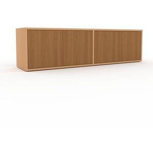 Lowboard Buche - Designer-TV-Board: Türen in Eiche - Hochwertige Materialien - 152 x 41 x 35 cm, Komplett anpassbar