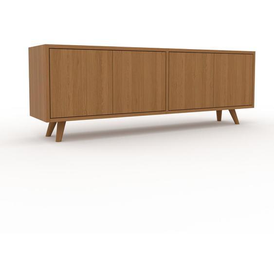 Lowboard Eiche - Designer-TV-Board: Türen in Eiche - Hochwertige Materialien - 152 x 53 x 35 cm, Komplett anpassbar