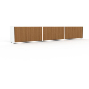Lowboard Weiß - Designer-TV-Board: Türen in Eiche - Hochwertige Materialien - 226 x 41 x 35 cm, Komplett anpassbar
