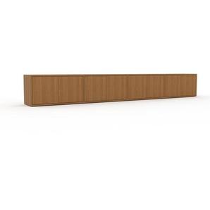 Lowboard Eiche - Designer-TV-Board: Türen in Eiche - Hochwertige Materialien - 301 x 41 x 35 cm, Komplett anpassbar