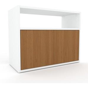 Lowboard Weiß - Designer-TV-Board: Türen in Eiche - Hochwertige Materialien - 77 x 61 x 35 cm, Komplett anpassbar