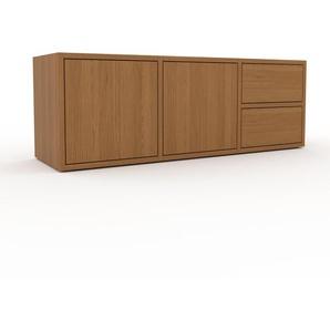 Lowboard Eiche - TV-Board: Schubladen in Eiche & Türen in Eiche - Hochwertige Materialien - 118 x 41 x 35 cm, Komplett anpassbar