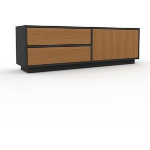 Lowboard Anthrazit - TV-Board: Schubladen in Eiche & Türen in Eiche - Hochwertige Materialien - 152 x 47 x 35 cm, Komplett anpassbar