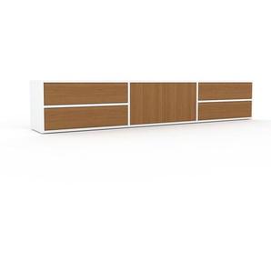 Lowboard Weiß - TV-Board: Schubladen in Eiche & Türen in Eiche - Hochwertige Materialien - 226 x 41 x 35 cm, Komplett anpassbar