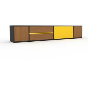 Lowboard Anthrazit - TV-Board: Schubladen in Eiche & Türen in Eiche - Hochwertige Materialien - 229 x 41 x 35 cm, Komplett anpassbar